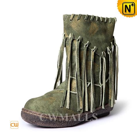 womens mid calf leather fringe boots cw305570