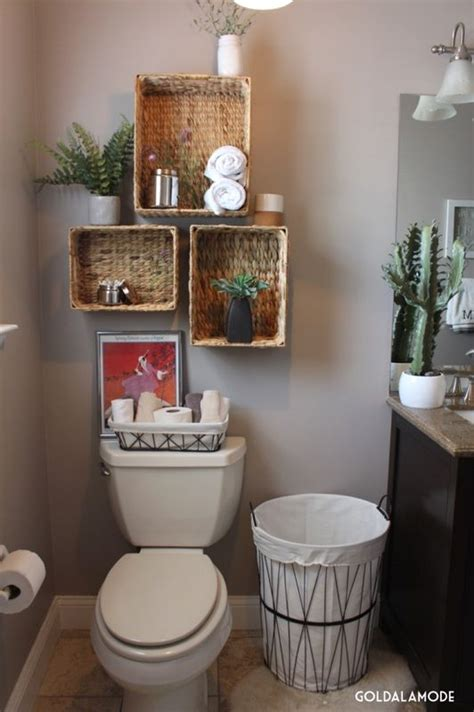 Basket Shelves For Bathroom Bathroom Shelves With A Twist Sponsored Pin Homegoods Enthusiasts Pinterest Toilets