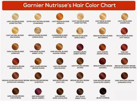 garnier nutrisse hair color chart cartas de colores de pelo imagui