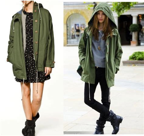 Rd Jaket Parka Army new womens army green parka button trench hooded