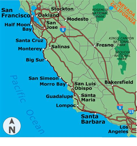 pacific coast highway map es coastal cali map 3