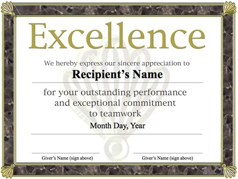 template of award certificate award certificate of excellence template sle helloalive