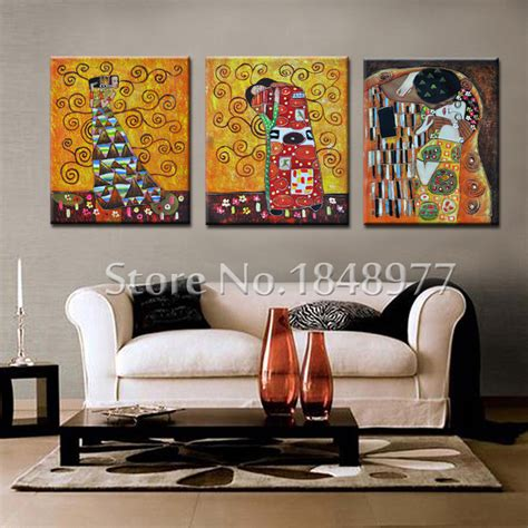 aliexpress home decor 3 panel cuadros abstract gustav klimt kiss printed