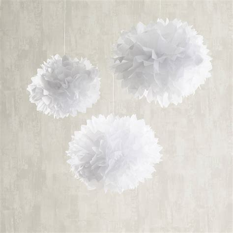 White Curtains With Pom Poms Decorating Nine White Paper Pom Poms By Lights4fun Notonthehighstreet