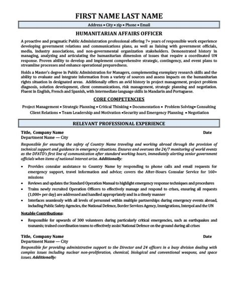 Cover Letter For Humanitarian Humanitarian Affairs Officer Resume Template Premium Resume Sles Exle
