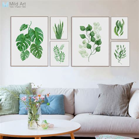 picture home decor watercolor green plants monstera leaf poster print nordic