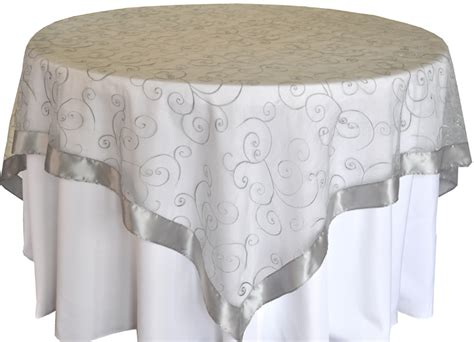 organza table overlays silver embroidered swirl sheer organza table overlays