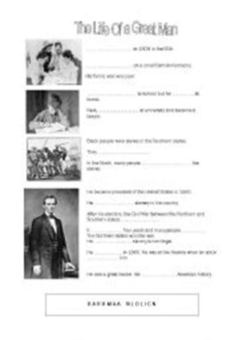biography of abraham lincoln worksheet answers english worksheet biography abraham lincoln