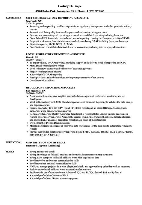 regulatory reporting associate resume sles velvet
