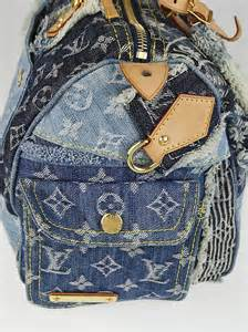 Denim Patchwork Bag - louis vuitton limited edition blue denim patchwork denim