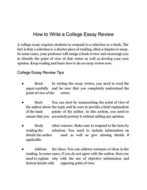 College Essay Set Up by Best College Essay Review