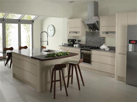 beige kitchen with grey blind kitchens kitchen ideas remo contemporary curved gloss kitchen in beige