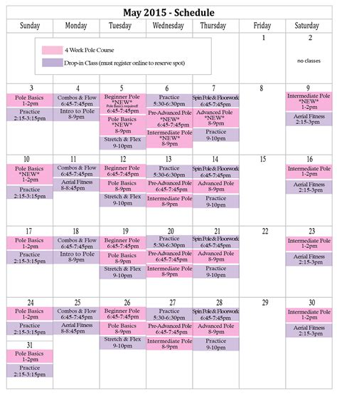 printable vre schedule schedule live it up pole fitness