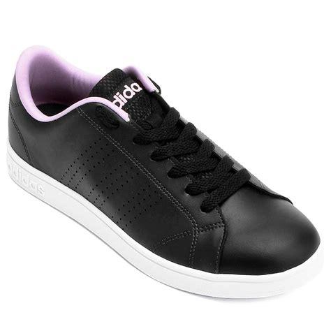 tenis adidas  advantage clean feminino preto  rosa