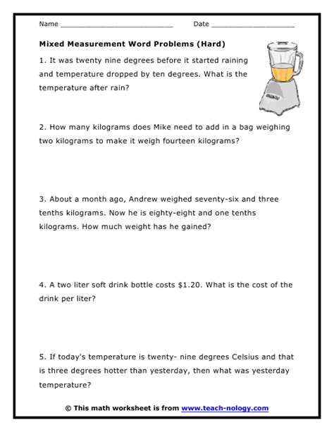 mixed measurement word problems hard