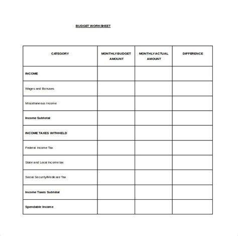 budget word template free spreadsheet template 12 free word excel pdf