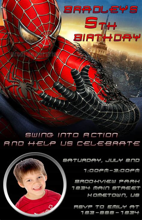 personalized photo invitations cmartistry spiderman