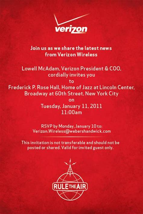 verizon sends invitation net flies into iphone flurry - Sle Media Invitation To Event
