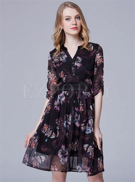 Print Sleeve Chiffon Dress half sleeve print chiffon dress ezpopsy