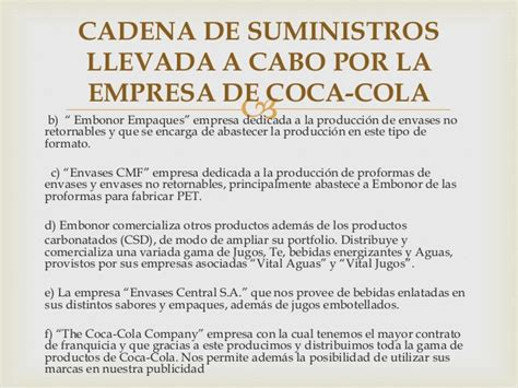cadena de suministro coca cola femsa cadena de suministro de coca cola