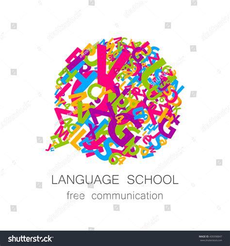 language school logo template concept logotype stock