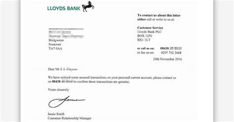 Lloyds Bank Statement Letter warning new transactions banking scam as