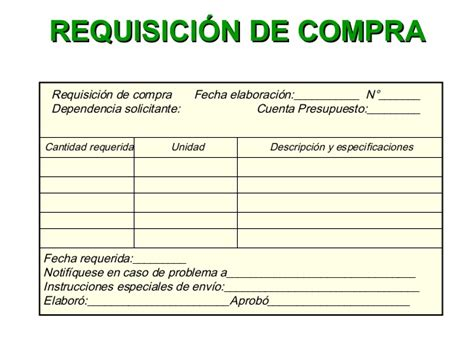 departamento de compra formatos de requisici 243 n y orden de requisicion de compra gesti 243 n de compras