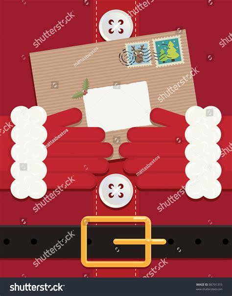 Money Envelope Set Friendly Closeup santa holding letter left blank stock vector