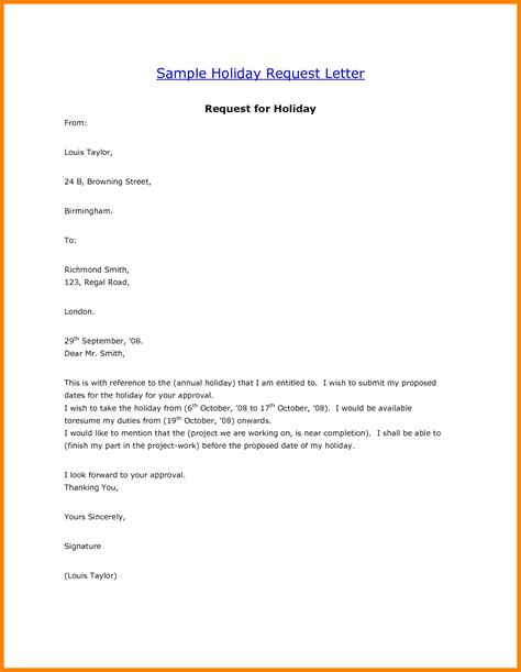 Sample Resume In Doc Format by 6 Holiday Request Letter Sample Applicationleter Com