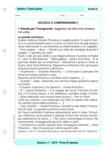 prove ingresso classe prima prove d ingresso italiano classe 4 la vita scolastica
