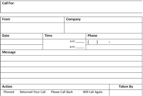 phone call message memo template excel about