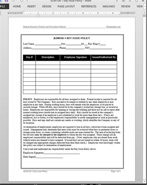 key receipt template key issue acknowledgement template