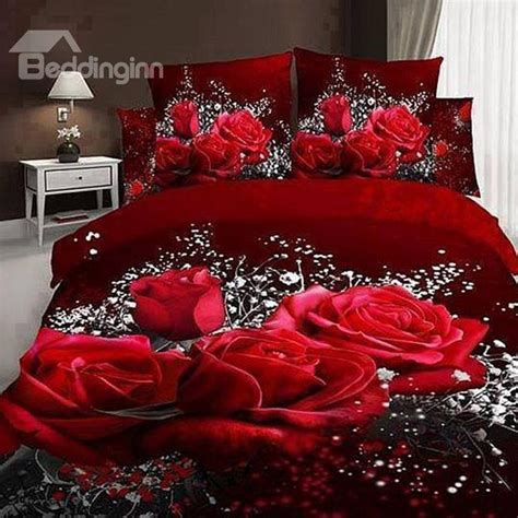 Noble Rose And Gypsophila Paniculata Print 4 Piece Cotton Roses Bedding Sets