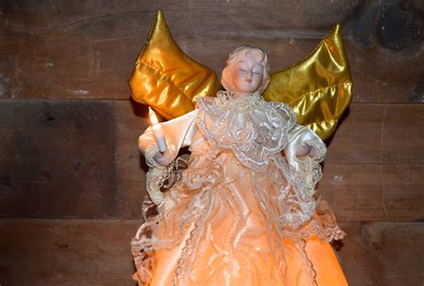vintage christmas tree topper lighted and animated angel