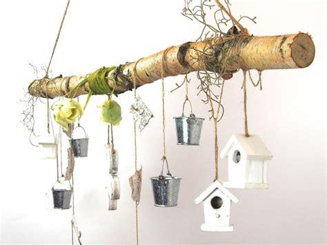dekoration ast creatina ast aus birkenholz zum aufh 228 ngen mit holzblume