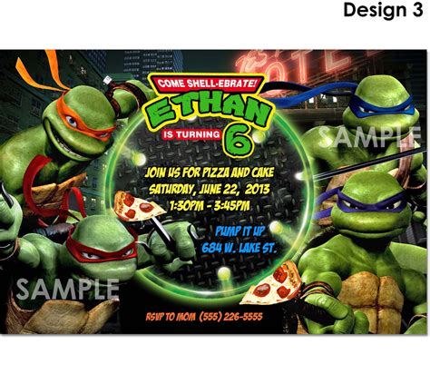 turtle birthday card template tmnt mutant turtles invitation printable