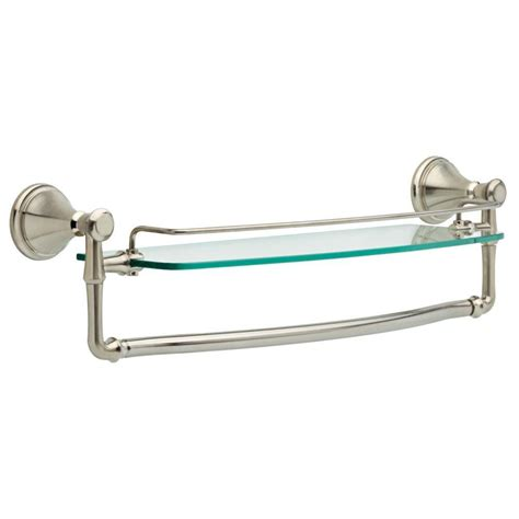 glass bathroom stand delta cassidy 18 in glass bathroom shelf with towel bar