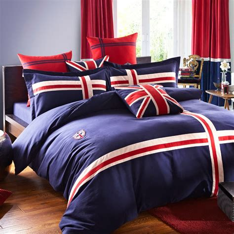 union jack bedding navy blue white and red the british flag print 100 cotton