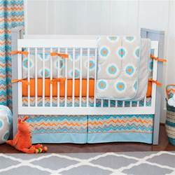 Turquoise And Orange Crib Bedding Gray And Orange Ikat Dot Crib Bedding Carousel Designs