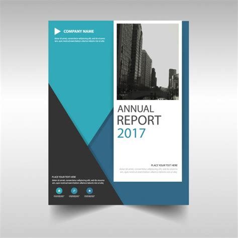 corporate annual report template blue triangle annual report template design vector free