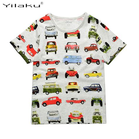2733 Boys Tshirt 2 6y boys t shirt clothes cars printed t shirt 2017 summer boy shirts