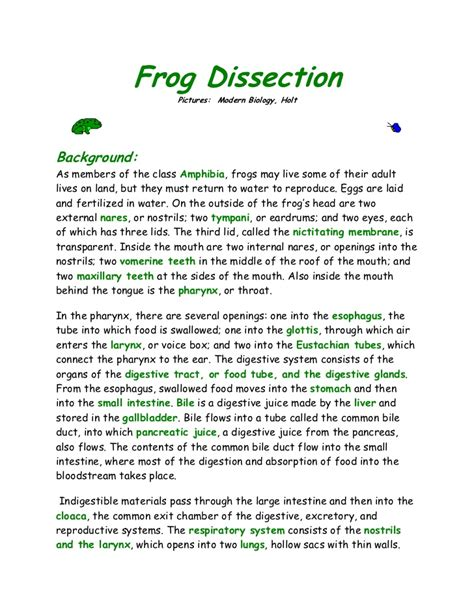 Frog Dissection Worksheet Answer Key by Frog And Taod Dissection