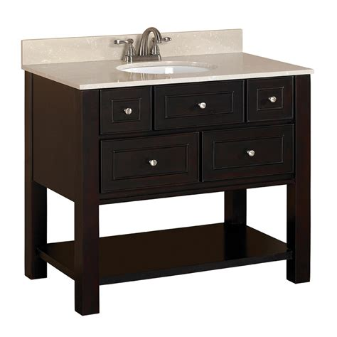 Lowes Bathroom Vanities With Tops Shop Allen Roth Hagen Espresso Undermount Single Sink Birch Poplar Bathroom Vanity With