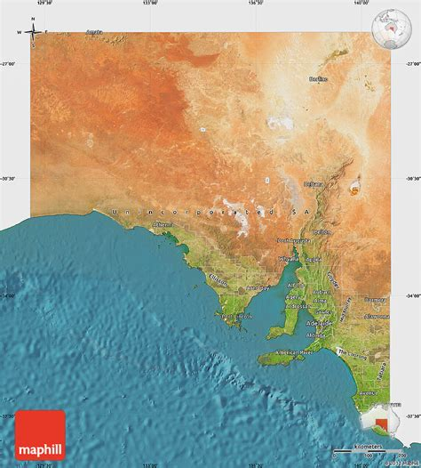 satellite map of australia satellite map of south australia single color outside