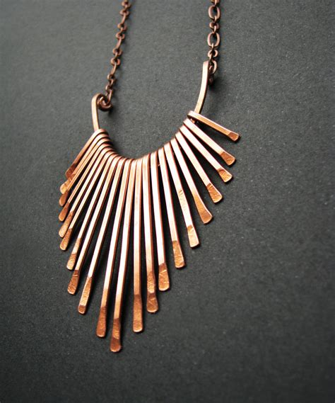 Handmade Copper Necklaces - copper necklace fringe freya design handmade copper