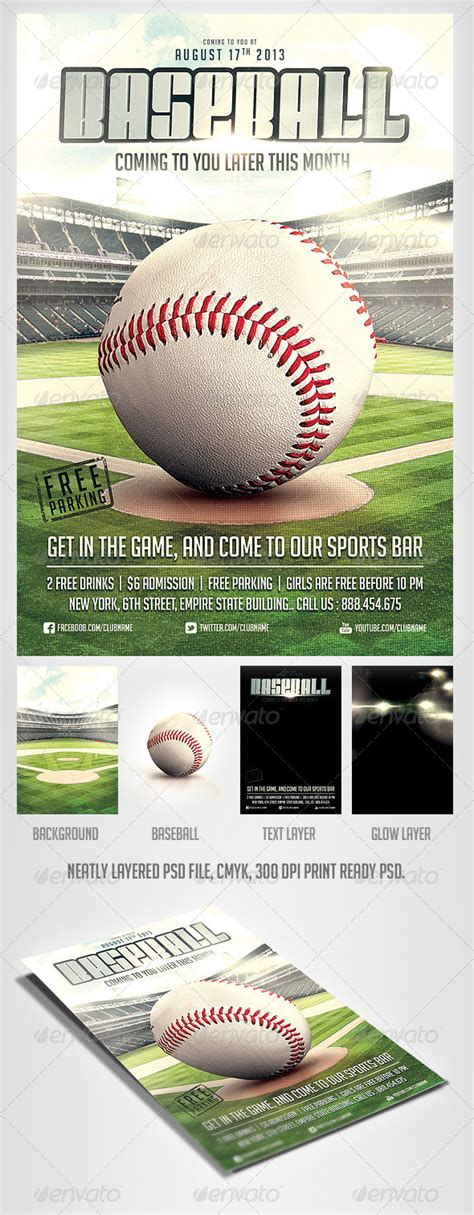 Baseball Game Flyer Template By Saltshaker911 Graphicriver Baseball Flyer Template