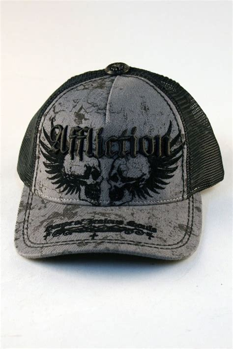 affliction 174 neglect trucker hat in grey for and