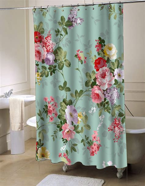 Curtains With Flowers Vintage Flower Shower Curtain Myshowercurtains