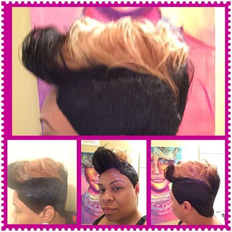 platinum blonde 27 piece weave pictures 27 piece short cut jet black and honey blonde fohawk
