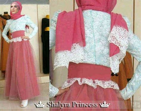gamis modern shalyra princess maxi dress mix brokat busana muslim princesses